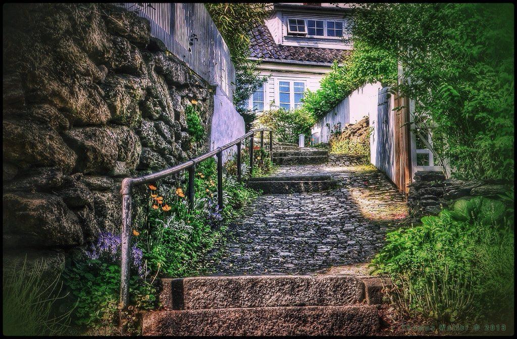 vakker hagetrapp med vegetasjon som leder opp til et hus, murere, betongarbeid, murer i bergen